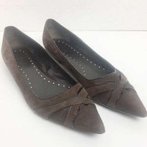 ZARA BROWN SUEDE POINT TOE FLATS SIZE 39 (9)
